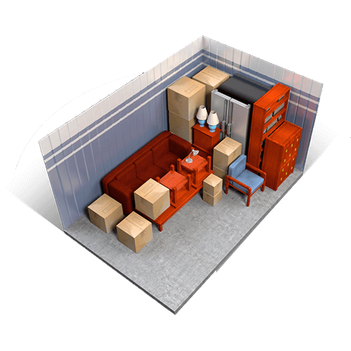 An example of a 10x15 storage unit holding boxes, furniture, appliances, and miscellaneous items.