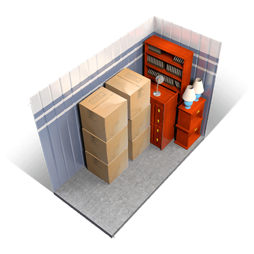 An example of a 5x10 storage unit holding boxes, furniture, and miscellaneous items.