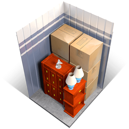 An example of a 5x5 storage unit holding boxes, small furniture, and miscellaneous items.
