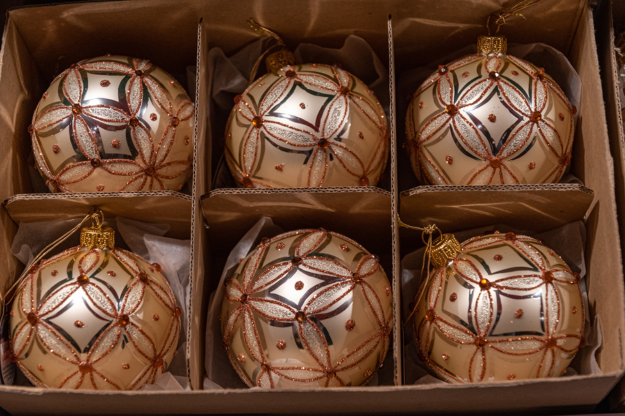Winter Holiday Ornate Glass Balls Inside Packing Box